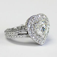 5.10 CT FOREVER BRILLIANT MOISSANITE HEART  HALO MICRO PAVE BAND ENGAGEMENT RING