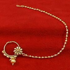 New Gold Plated Traditional Nath Hoop Wedding Bridal Nose Chain Ring Jewelry