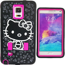 Hot Pink Hello Kitty Hybrid Case for Verizon Samsung Galaxy Note 4 Strong Cover