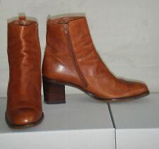 Moda calzado mujer zapatos tacon alto botines botas piel cuero marron cremallera