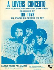 THE TOYS - A LOVER'S CONCERTO - VINTAGE SHEET MUSIC - AUSTRALIA (RARE)