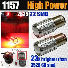 2x1157 Hi-Power 2835 Chip 360LM Bright Red Turn Signal Brake Tail Stop LED bulbs
