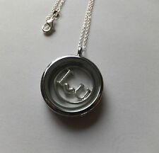 CIRCULAR COIN LIVING FLOATING LOCKET 'I LOVE YOU' 18inch 925 Silver Trace Chain.