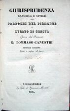 1837 – CANESTRI, GIURISPRUDENZA CANONICA E CIVILE DEI PARROCHI – PIEMONTE GENOVA
