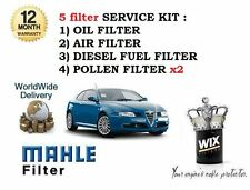 ALFA GT 2004-  1.9JTD SERVICE KIT OIL AIR FUEL POLLEN x2 FILTER ( 5 X FILTERS)