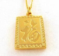24K Yellow Gold Plated Charm Chinese Character Fu Good Forture Pendant Necklace