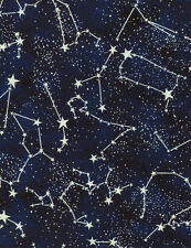 Constellations Glow in the Dark Fabric; CG2750 Timeless Treasures; Space Fabric