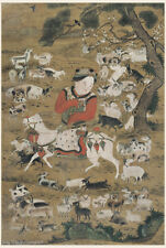 Chinese old painting on silk Animal Goatherd boy and his goats in Song dynasty