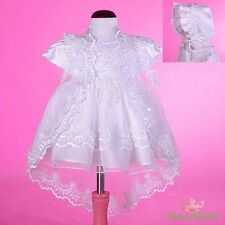 Beaded White Baby Baptism Christening Dress Gown Cape Bonnet Wedding Size 0 #008