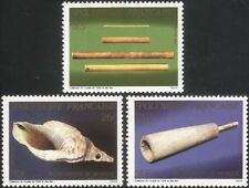 French Polynesia 1987 Musical Instruments/Bamboo Pipes/Shell Horn 3v set n45234