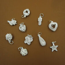 Wholesale Lots 10 Pcs Fashion Mixed Style S80 Silver Charm Pendants