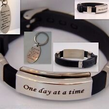 One Day at A Time Bracelet & Serenity Prayer Key Chain AA Stainless Steel Silver