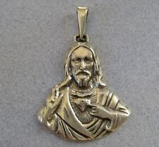 Mexican 925 Silver Taxco Religious Sacred Heart of Jesus Catholic Large Pendant