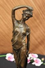 Vintage French Art Nouveau Moreau Bronze Sculpture Hot Cast Nude Maiden Figurine