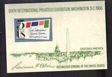 USA , Sc# 1311, 1966 SIPEX Souvenir Sheet, MINT, NH, OG