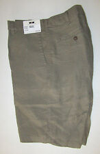 $89 New Jos A Bank JOSEPH ABBOUD Linen flat front shorts in solid olive 36 W