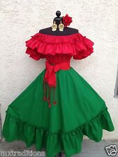 MEXICAN FIESTA,5 DE MAYO,WEDDING RED/RED DRESS OFF SHOULDER 2PC W/MEDIUM SASH