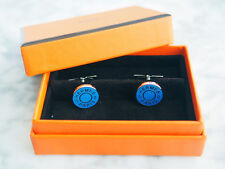 Handsome! NEW Authentic Hermes Licol 2 Blue lacquer french shirt cufflinks Mens