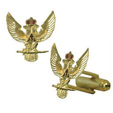 Scottish Rite 33rd Degree Wings Up Masonic Cufflinks. Gold tone with color