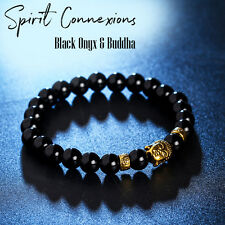 Black Onyx & Gold Buddha Head Bead Bracelet Unisex Male Female Elastic Stretch