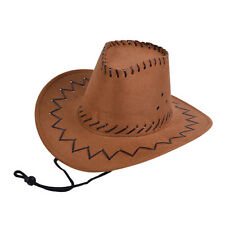 Childrens Brown Leather Stitched Cowboy Hat Sheriff Stetson Fancy Dress Prop