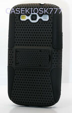 FOR SAMSUNG  GALAXY S3 BLACK HYBRID HARD N SOFT KICK STAND CASE  Siii s3