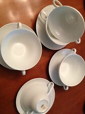 Rosenthal white dots and ovals 2 Handle soup bowls with saucer