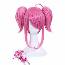 League of Legends Star Guardian LUX LOL Anime Hair Cosplay Wig +Ponytail +Cap