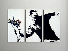 "Banksy Flower Thrower Stretched Canvas Triptych Print 48""x30"". BONUS WALL DECAL!"