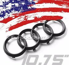 1 - NEW Audi MATTE BLACK 4 Rings Front Grille Badge A Series 2006-2012 10.75 MB
