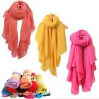 Women's Girl Pure Candy Colour Crinkle Long Soft Scarf Wrap Shawl Stole