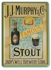 JJ MURPHY IRISH STOUT Small Vintage Metal Tin Pub Sign