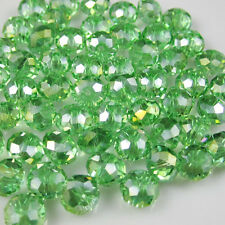 DIY NEW Jewelry Faceted 30pcs Green AB #5040 6x8mm Roundelle Crystal Beads  (F2)