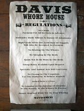 "(682) OLD WEST BROTHEL DAVIS WHORE HOUSE RULES POSTER 11""x17"""