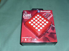 NEW! BASS JAXX CUBE Bluetooth Speaker *RED* With Carabiner, USB Cable & Manual