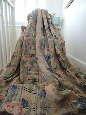 Beautiful CURTAINS cotton silk SHABBY CHIC TARTAN check PLAID on CABBAGE ROSES