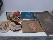 6 VINTAGE COMPLETED HAND STITCHED NEEDLEPOINT & CREWEL  ~ GREAT FOR PILLOWS MORE