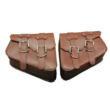 2X PU Leather Side Bag Saddle Bag For Harley Sportster XL883 XL1200 Brown New