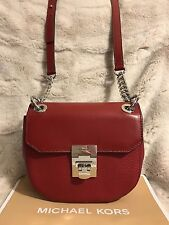 NWT MICHAEL KORS CECELIA LEATHER MINI SADDLE CROSSBODY BAG IN CHERRY (SALE!!)