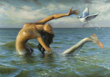Needlework Counted Cross Stitch Chart PDF Mermaid with seagull
