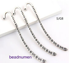 "10pcs Tibet Silver Hook Retro Circle&""S""  Pattern Charms Bookmarks 85*"