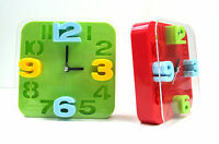 15CM 3D SQUARE PLASTIC ANALOG DESK OR WALL  ALARM CLOCK NUMBER COLOURED