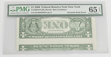 2009 $1 Federal Reserve Note Inverted Back Error & Faulty Alignments Pmg 65 Epq