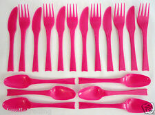 18 pc Reusable Plastic Cutlery 6 Knives Forks Spoons Camping Party Picnic Beach