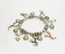 CHEERLEADER & RHINESTONE POM POM CHARM BRACELET - RED/GREEN- ENAMEL - STRETCHY