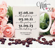 BEST DAYS WEDDING ENGAGEMENT DATES LOVE COFFEE MUG TEA CUP PERSONALISED GIFT