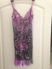 Ema Savahl Lavender Purple Gray OMBRE Rhinestone Cocktail Evening Dress S Small