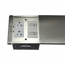 Ultra-thin SS Flat Push Floor Box 20A TWR Receptacle & Low Voltage RJ45 Port