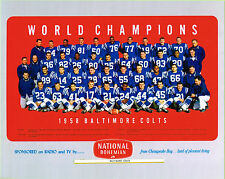 : Johnny Unitas 1958 Baltimore Colts Natty Boh 8x10 Team Photo National Bohemian