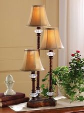 Traditional Graduated Height Candlestick Trio Lamp w/ Fluted Fabric Shades